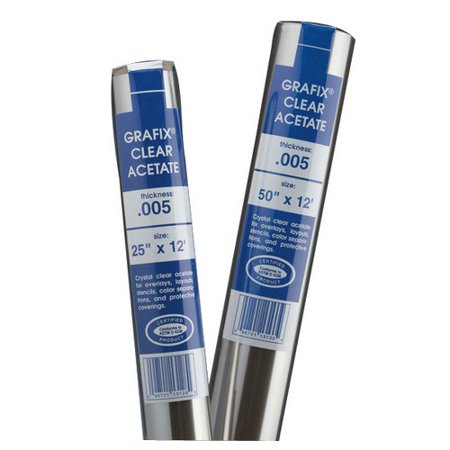 GRAFIX R05CL5012 CLEAR ACETATE .005 ROLL 50 INCH X 12 FEET