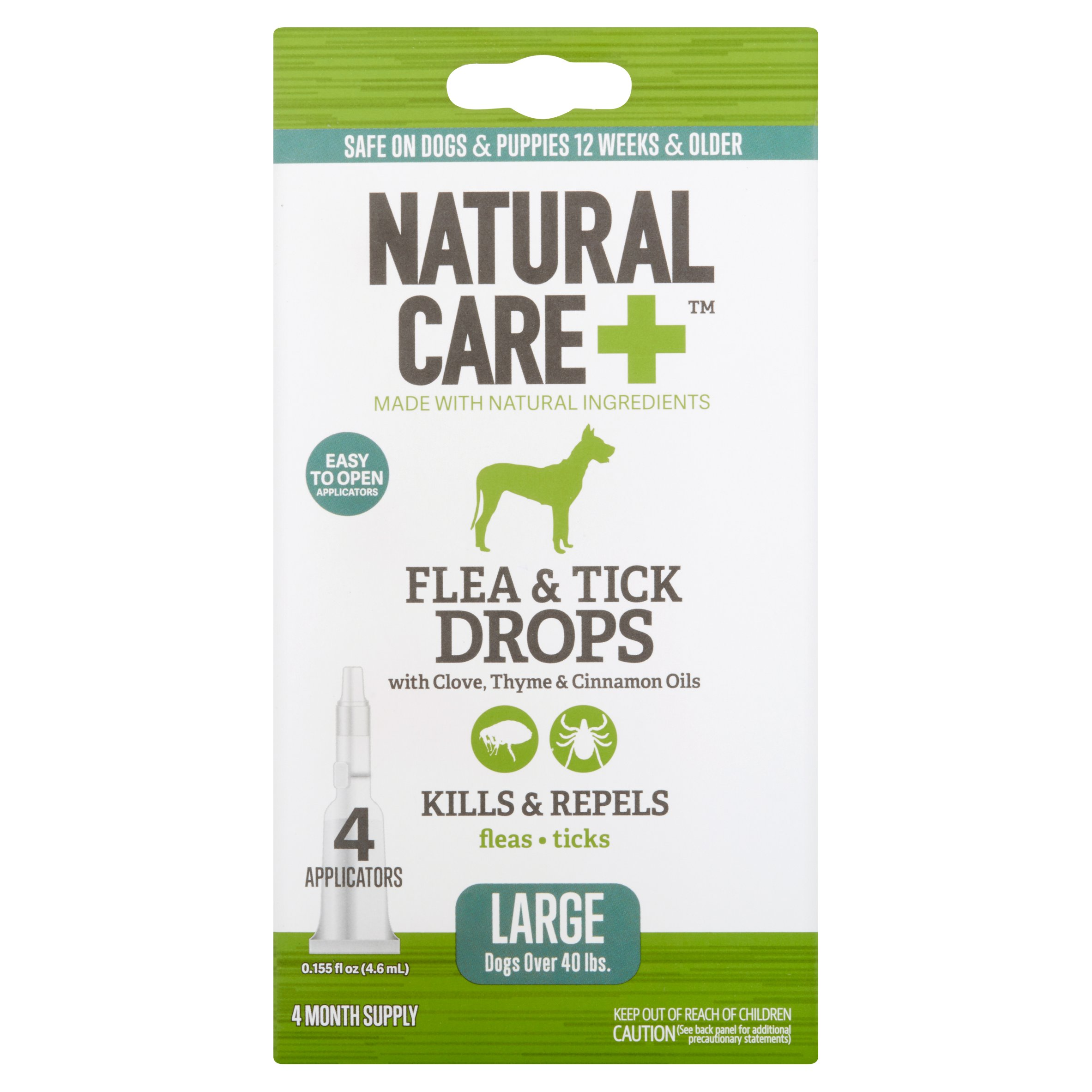 Natural Care+ Flea & Tick Drops Large Dogs Over 40 lbs., 0.155 fl oz