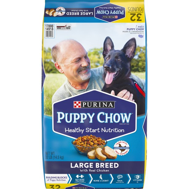 Purina Puppy Chow High Protein Large Breed Dry Puppy Food, With Real Chicken, 32 lb. Bag