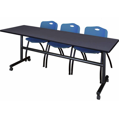 "Kobe 84"" Gray Flip Top Mobile Training Table and 3 'M' Stack Chairs, Multiple Colors"