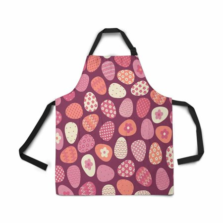 ASHLEIGH Adjustable Bib Apron for Women Men Girls Chef with Pockets Seamless Pattern Colorful Easter Egg Novelty Kitchen Apron for Cooking Baking Gardening Pet Grooming (Egg Pocket)
