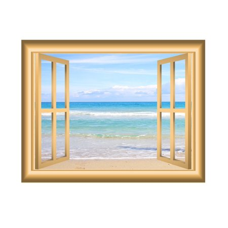 VWAQ Beach Scene Window Wall Decal Nature Decor Bedroom Wall Sticker Peel and Stick Mural VWAQ-NW3 (18
