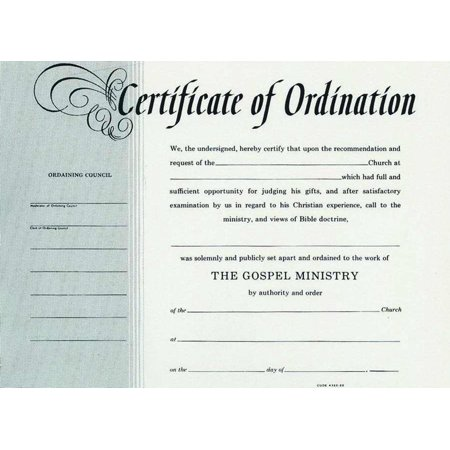 Certificate-Ordination-Minister (Parchment)-Billfold
