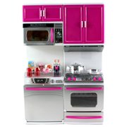 """My Modern Kitchen Dishwasher Oven Battery Operated Toy Doll Kitchen Playset w/ Lights, Sounds, Perfect for Use with 11-12"""" Tall Dolls"""