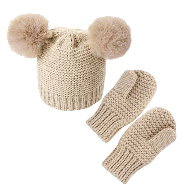 Children Boys Dinosaur Hat Warm Mittens Pom Pom Beanie Gloves Children in Low Age Fleece Earbuds Caps for Boys Girls Winter Hat and Gloves Set for Baby Small
