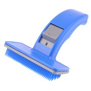 Blue Plastic Cleaning Shedding Grooming Brush for Pets Dog Cat