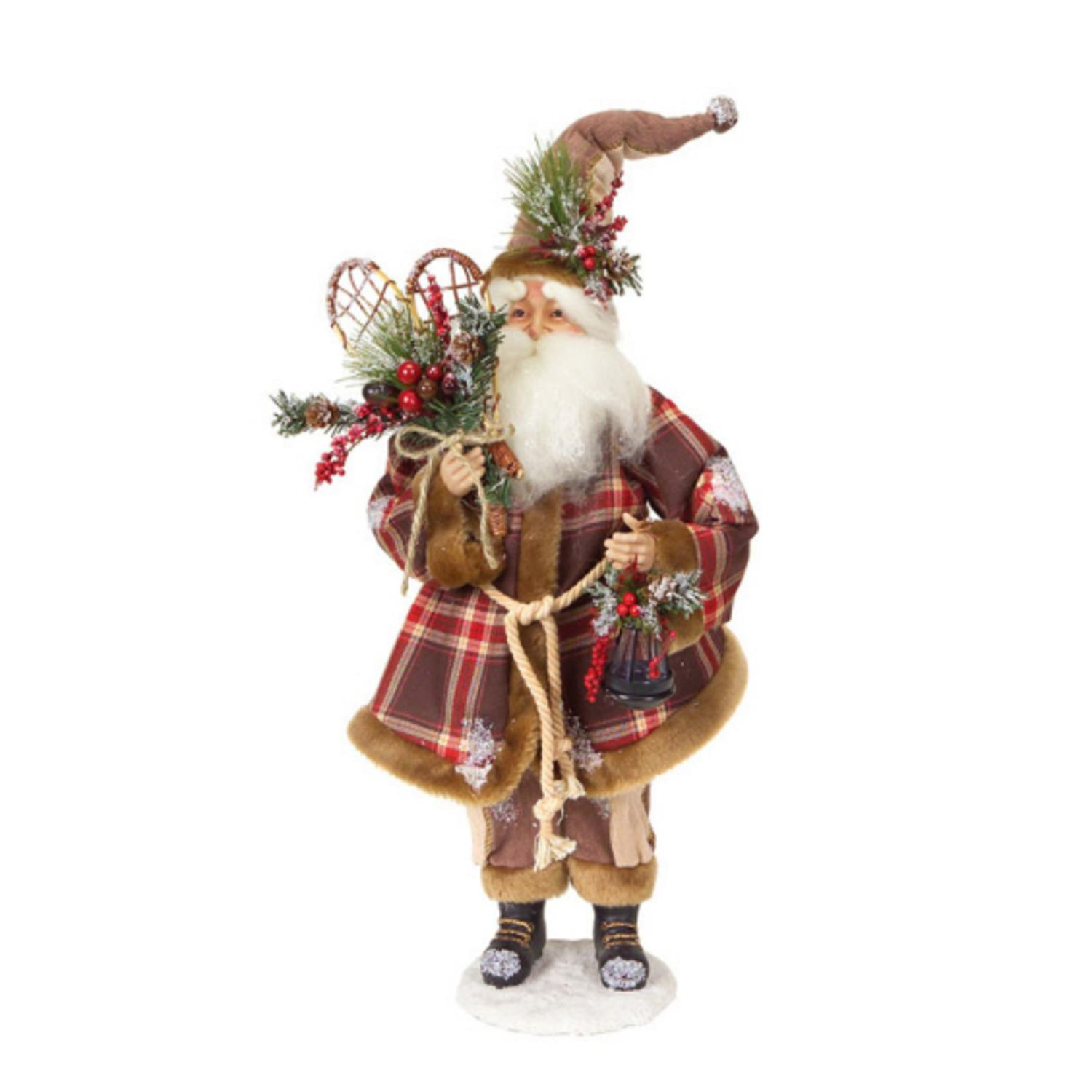 "20"" Modern Lodge Iced Santa Claus Christmas Figure with Plaid Coat & Snow Shoes"