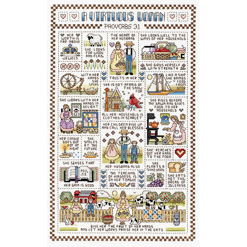 "Janlynn A Virtuous Woman Counted Cross Stitch Kit, 9-1/4"" x 15-1/4"", 14 Count"
