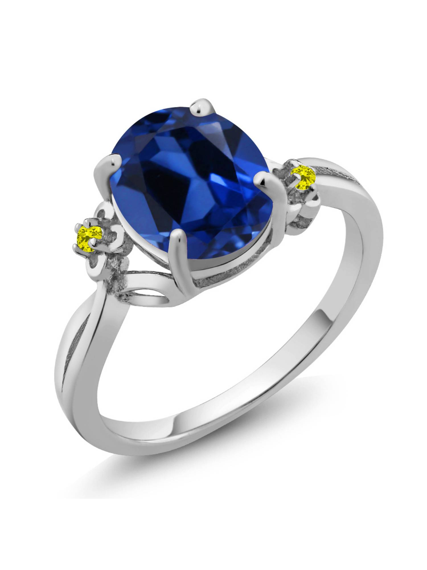 3.38 Ct Oval Blue Simulated Sapphire Diamond 14K White Gold Ring by