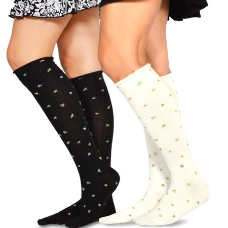 Teehee Women's Fashion Pointelle Cotton Knee High Socks - 2 Pairs Pack (Cotton Pointelle)