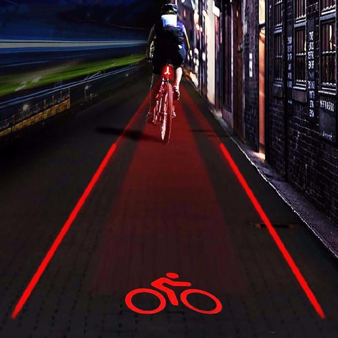 Bicycle Bike Cycling Red Laser Beam 5LED Rear Tail Light Safety Warning Lamp Set
