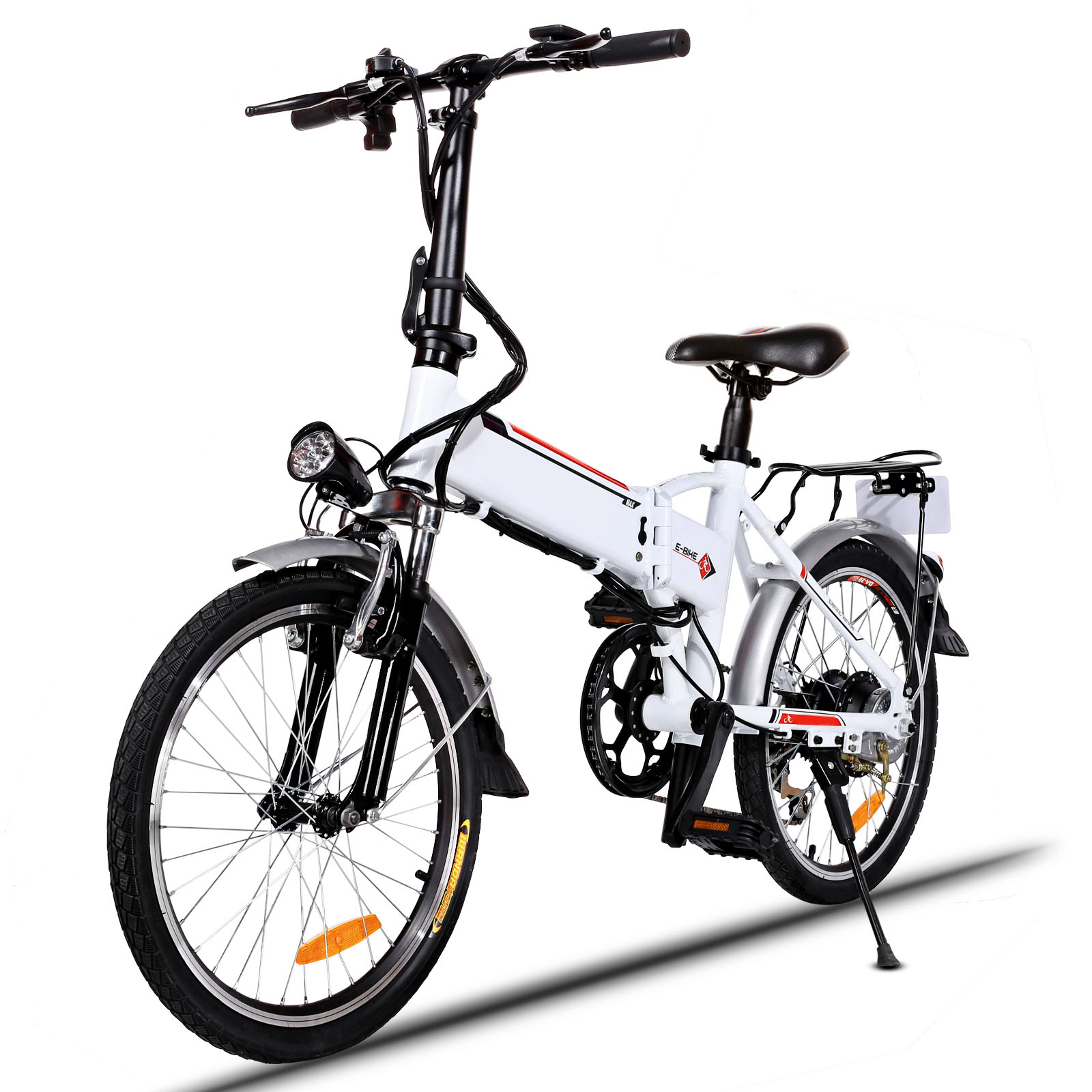 "Clearance! Hifashion 18.7"" Folding Adjustable Mountain Bike Electric Bicycle with Smart Lithium Battery"