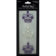 Bling Self-Adhesive Rhinestone/Pearl Crowns 3/Pkg-Purple Multi-Colored
