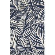 Tommy Bahama Atrium Area Rugs - 51105 Contemporary Blue Lines Bars Outdoor Leaves Rug
