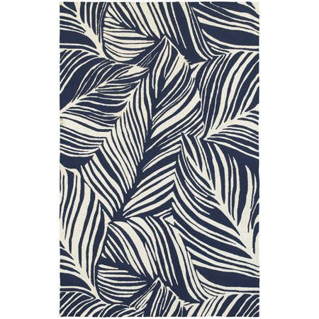 Tommy Bahama Atrium Area Rugs - 51105 Contemporary Blue Lines Bars Outdoor Leaves Rug ()