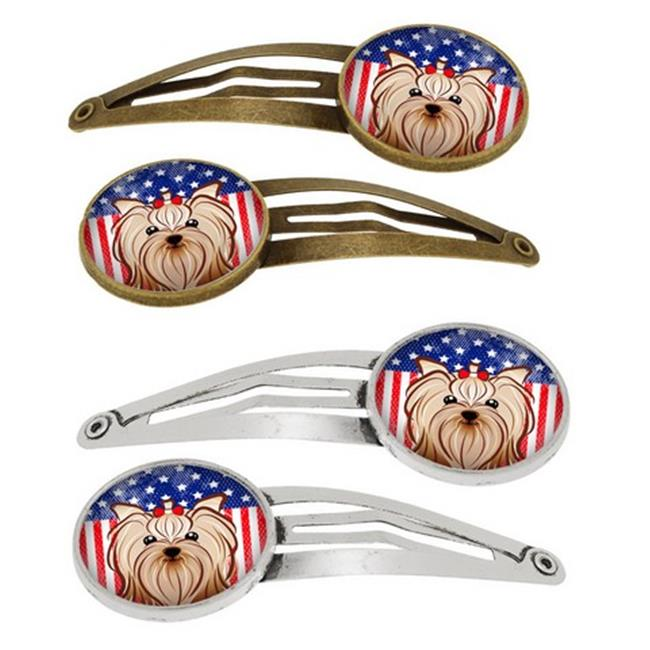 American Flag & Yorkie Yorkishire Terrier Barrettes Hair Clips, Set of 4