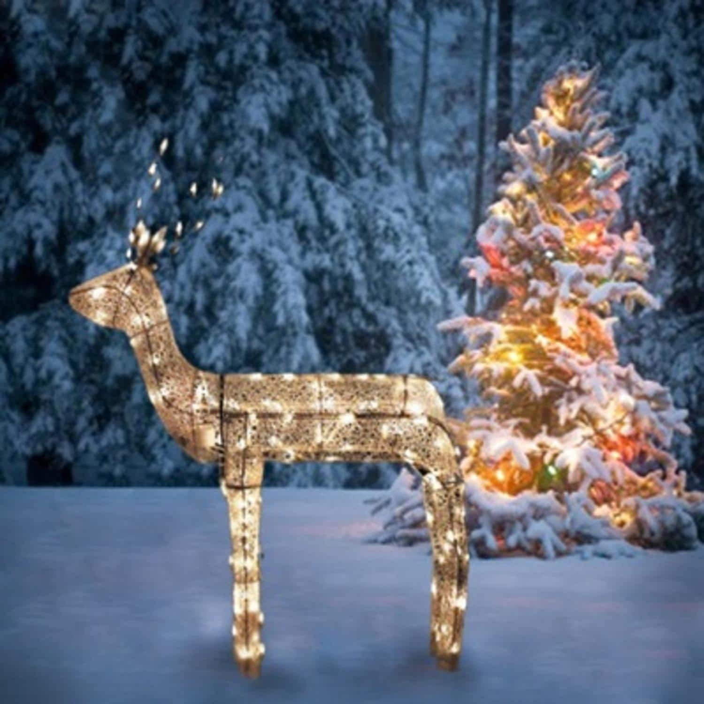 "42/"" PRE-LIT LIGHTED GLITTER DOE REINDEER OUTDOOR CHRISTMAS Yard Decor DISPLAY"