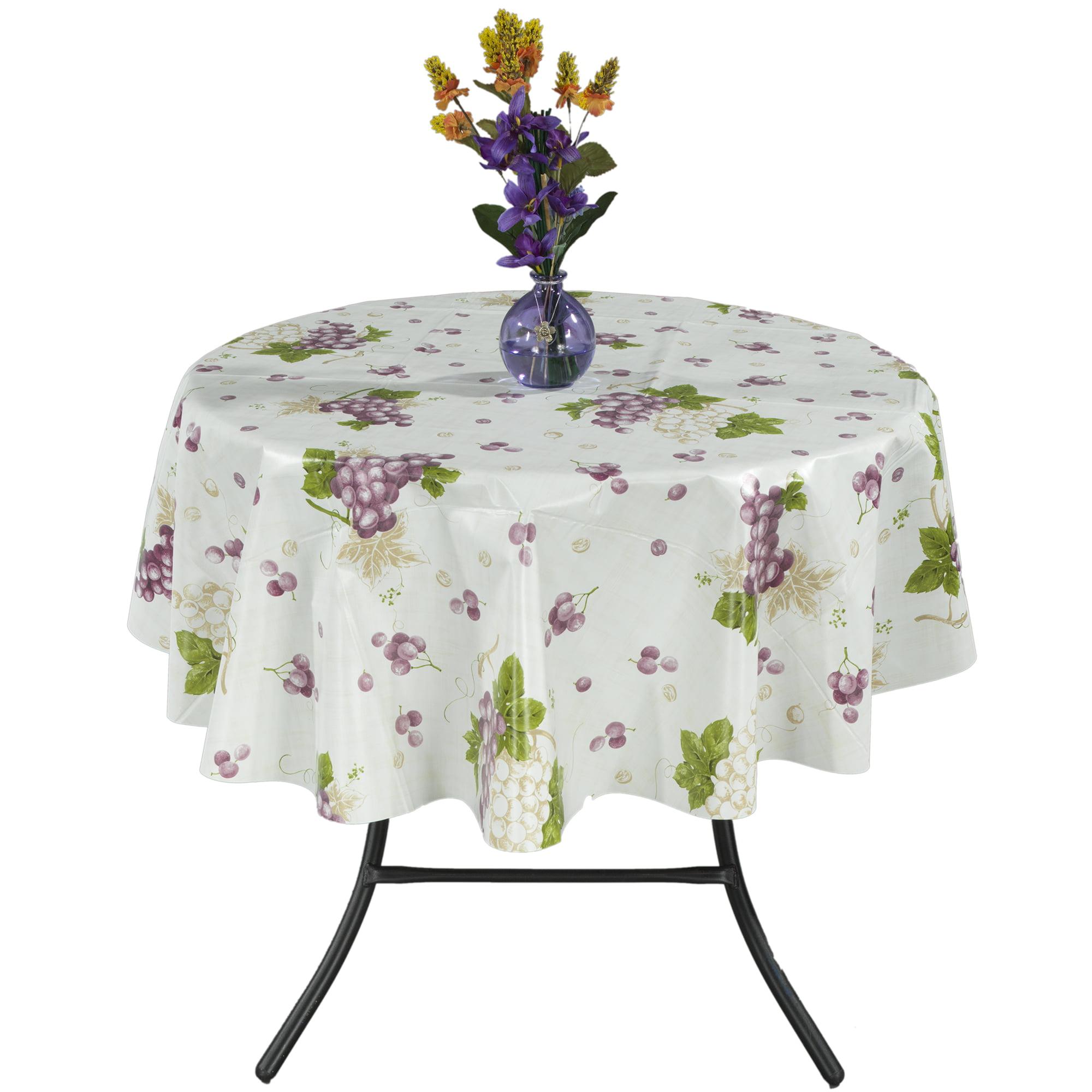 Ottomanson Vinyl Grape Vine Design Indoor & Outdoor Tablecloth with Non-Woven Backing