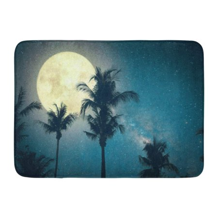 GODPOK Beautiful Fantasy Palm Tree Tropical Beach with Milky Way Star in Night Skies Wonderful Full Moon Retro Rug Doormat Bath Mat 23.6x15.7 inch ()