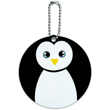 Penguin Black and White Round Luggage ID Tag Card for Suitcase or - White Suitcase