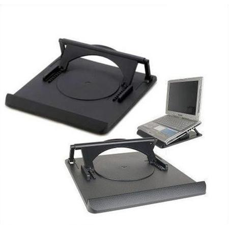 "Swivel Laptop Stand: adjustable height rotating desktop computer riser for notebooks under 15"". Portable ergonomic macbook pro computer cooler cooling ()"