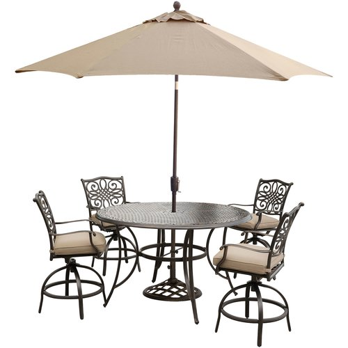 Fleur De Lis Living Carleton 5 Piece Bar Height Dining Set with Cushions