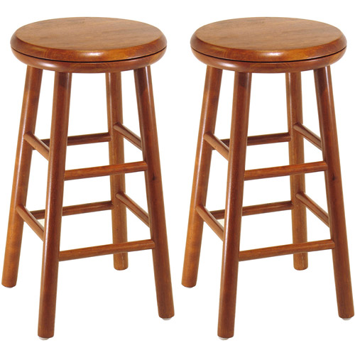 "Wood Swivel Seat, Bar Stool, 25"", Set of 2, Cherry"