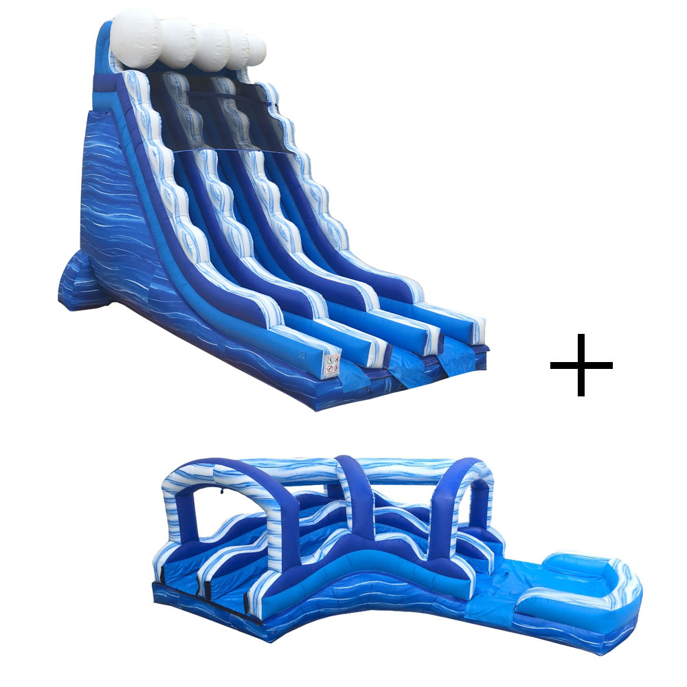 Pogo Blue Marble Commercial Inflatable Waterslide and Curved Slip n Slide Combo with 2x Air Blowers by Pogo Bounce House