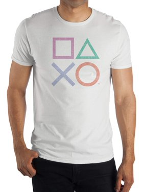 Playstation Controller Buttons Men's and Big Men's White Graphic T-shirt