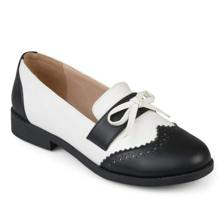 Women's Faux Leather Bow Oxford Wingtip (Black & White Wingtips)