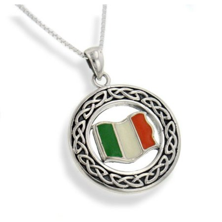 "Irish Celtic Knot and Flag of Ireland Medallion Sterling Silver Pendant with 20"" Chain Necklace"