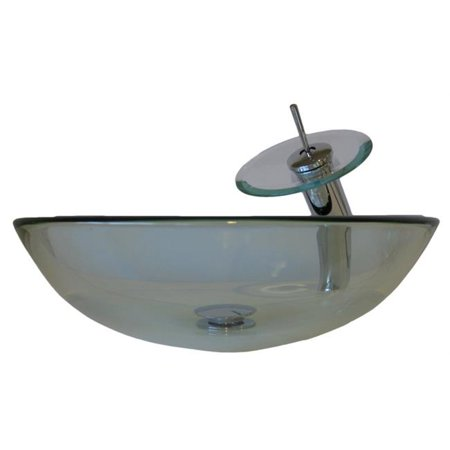 Novatto NSFC-8048001CH Bonificare Clear Glass Vessel Sink with Matching Chrome Faucet, Drain and Mounting Ring - image 1 de 1