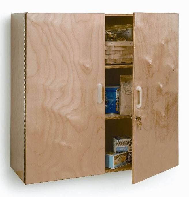 Lockable Wall Cabinet in Natural UV Finish by Whitney Brothers Company