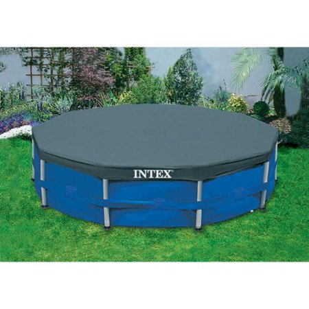 Intex 10 39 round above ground pool vinyl debris cover 28030e for Garden pool covers