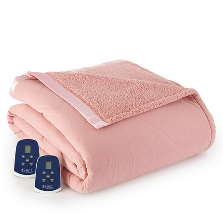 Shavel Home Products Micro Flannel® Reverse to Sherpa Electric Blanket, Queen, Frosted Rose