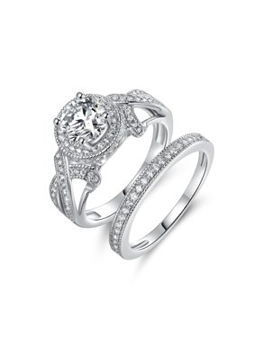 Peermont 18k White Gold Plated Round Halo Cut Cubic Zirconia Engagement Ring Set
