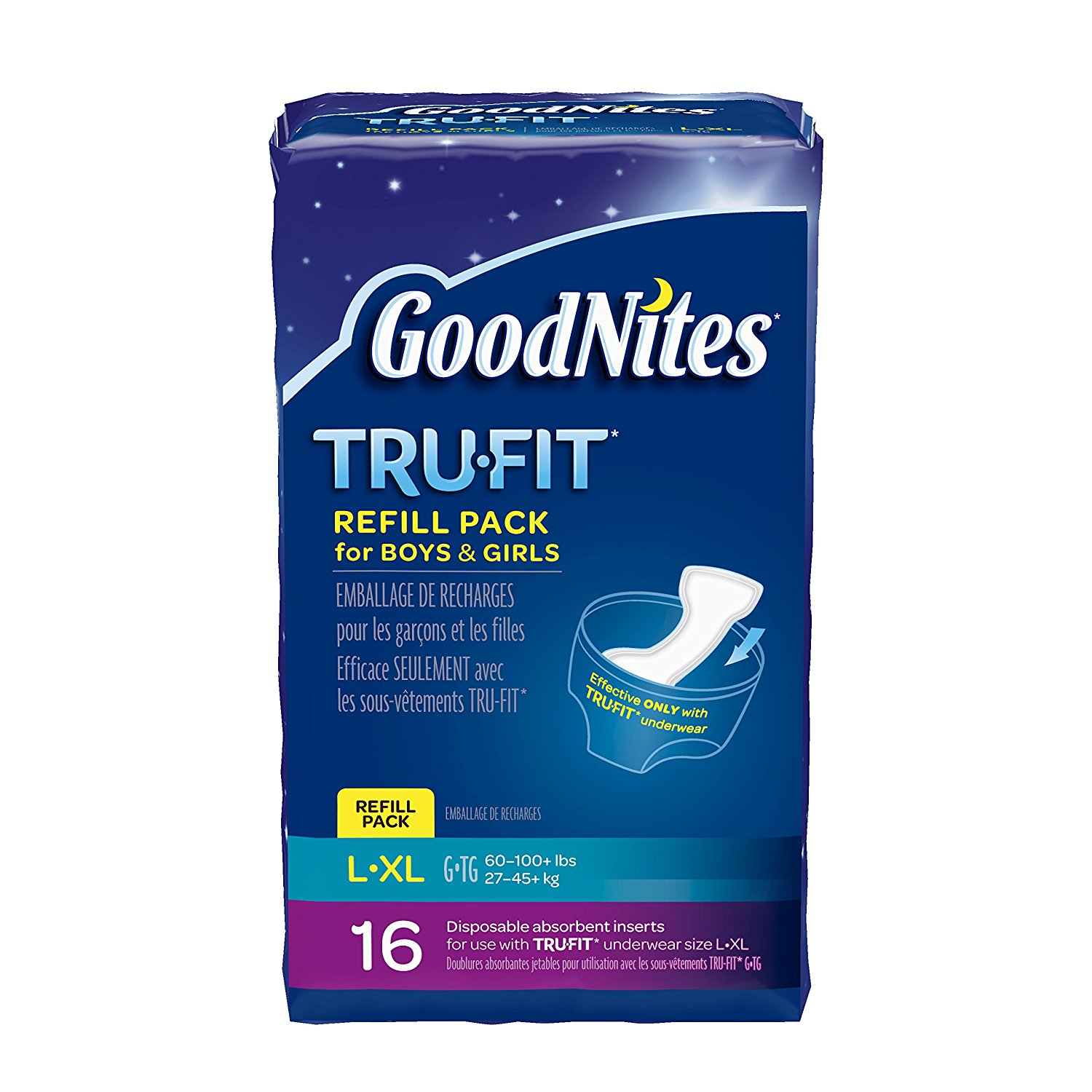 Goodnites TRU-FIT Refill Pack Disposable Absorbent Insert...