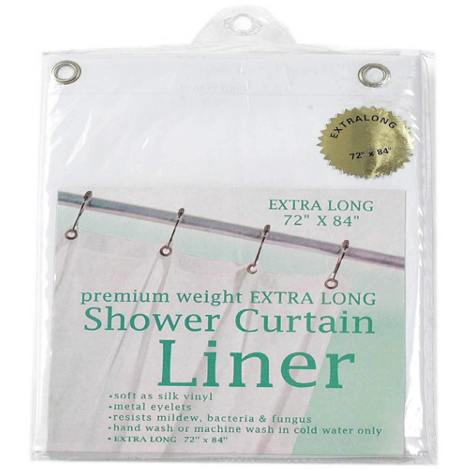 Extra Long, 8 Gauge Vinyl Shower Curtain Liner in White
