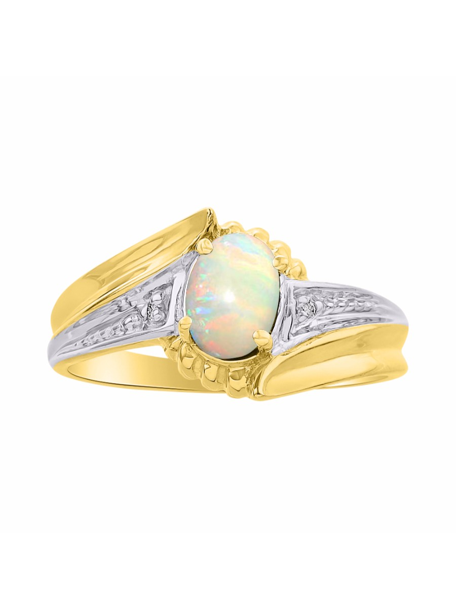 Diamond & Opal Ring Set In Yellow Gold Plated Silver Color Stone Birthstone Ring DSL-LR7071OPY by Rylos