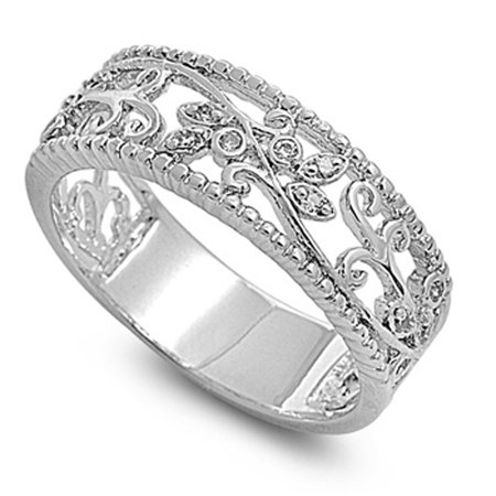 Clear CZ Leaf Swirl Filigree Polished Ring Sterling Silver Thumb Band Size 7