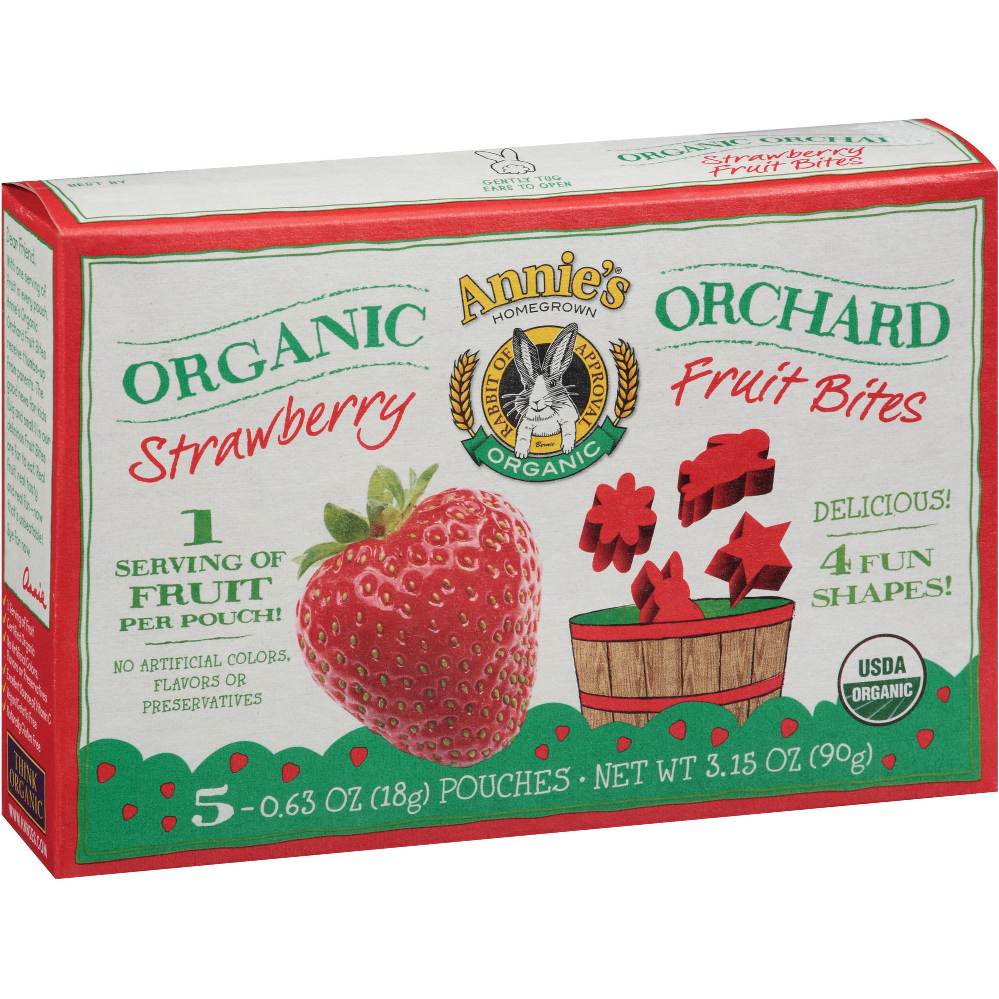 Annie's Homegrown Organic Orchard Strawberry Fruit Bites, 0.63 oz, 5 count