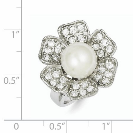 925 Sterling Silver Simulated Pearl Cubic Zirconia Cz Band Ring Size 7.00 Fine Jewelry For Women Gifts For Her - image 6 of 6