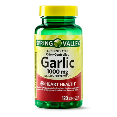 (2 Pack) Spring Valley Odorless Garlic Softgels, 1000 mg, 120 Ct