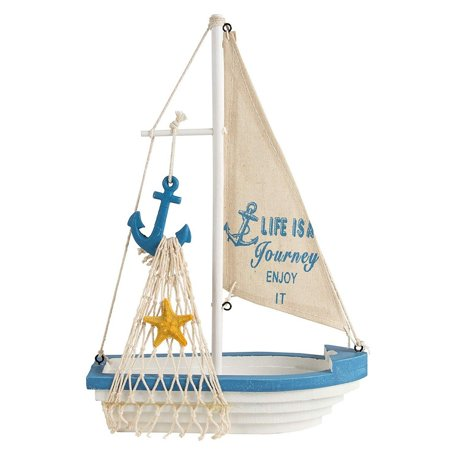 Sailboat Model Decoration - Wooden Sailing Boat Home Decor Set, Beach Nautical Design, Navy Blue And White With Anchor, 12.5 X 8.25 X 3 Inches