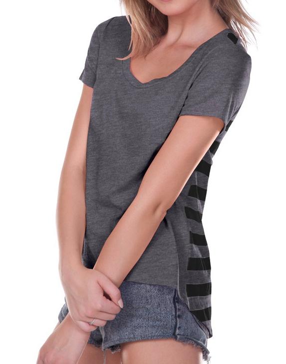 Juniors Striped Jersey Back High Low Short sleeve, Style JJP0622