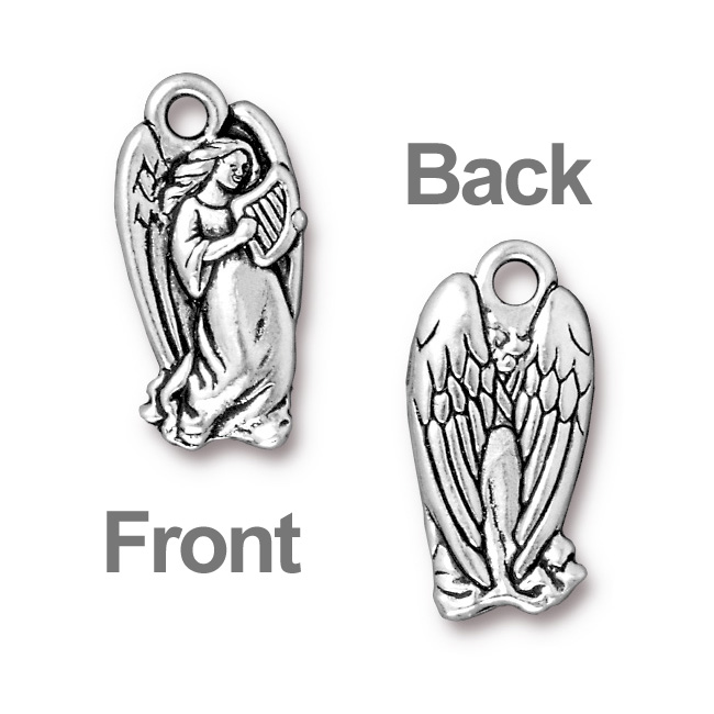 Antiqued Silver Plated Lead-Free Pewter Charm Angel With Harp 22mm (1)