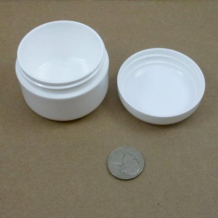 - 12 White 1.7 Oz Plastic Cosmetic Double Wall Cream Empty Dome Jars Container Cap