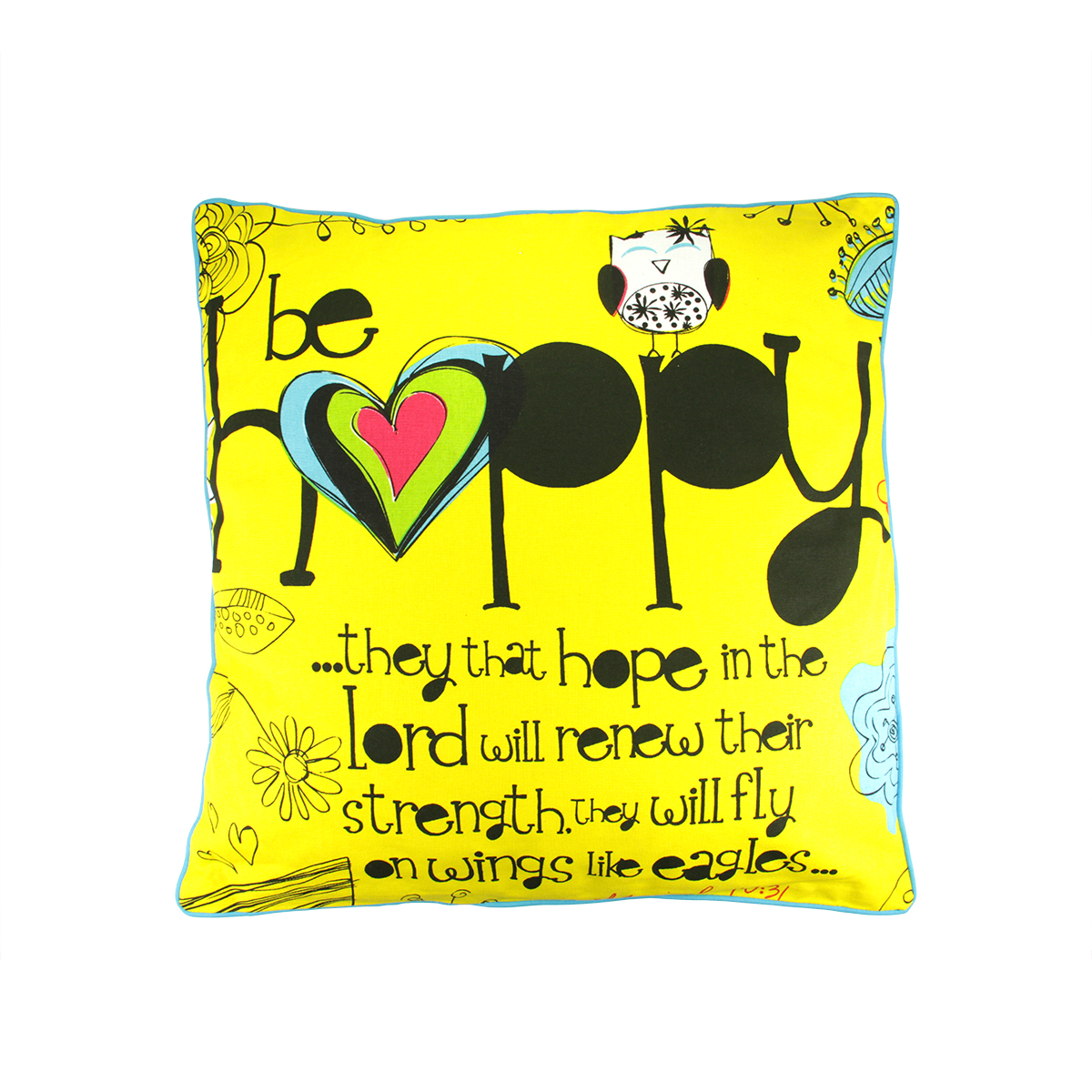 "16"" Religious ""Love"" and ""Be Happy"" Decorative Square Throw Pillow"
