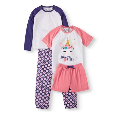 Chili peppers mix n match pajamas, 4-piece pajama sleep set (Little Girls & Big (Sleeping Dogs Best Outfit)