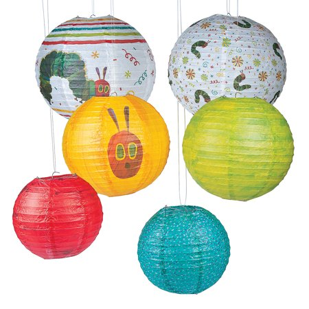 Fun Express - Very Hungry Caterpillar Paper Lanterns for Birthday - Party Decor - Hanging Decor - Lanterns - Birthday - 6 Pieces (Hungry Caterpillar Birthday Party)